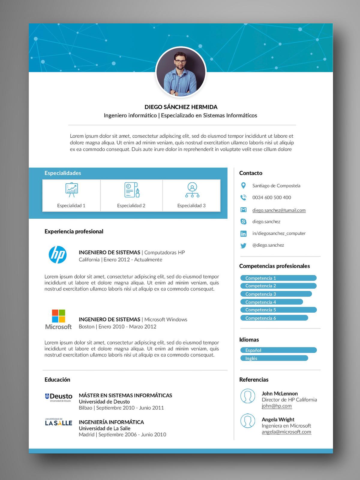 Plantilla currículum y Carta presentación | Fácil edición Word iPages